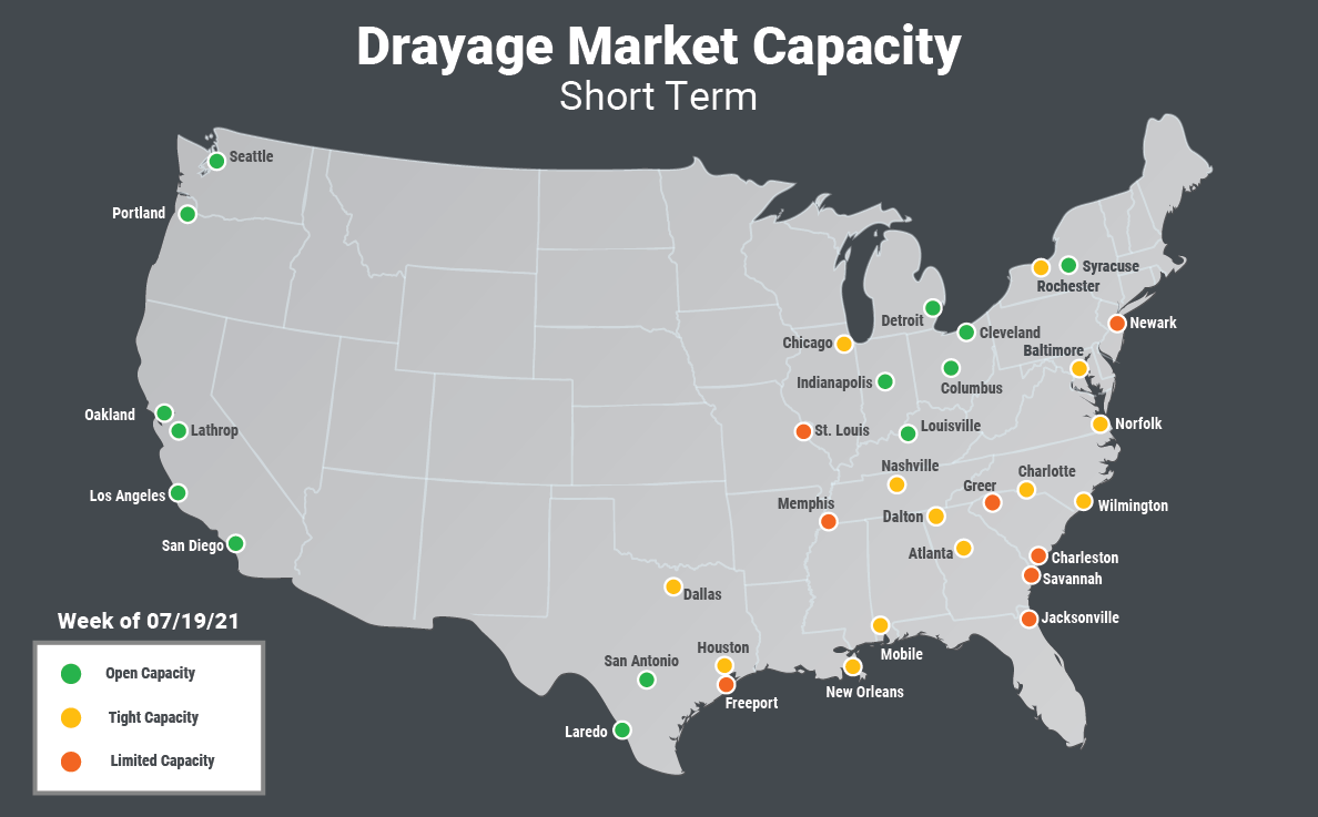 Drayage Short Term Local Capacity: 0-99 miles