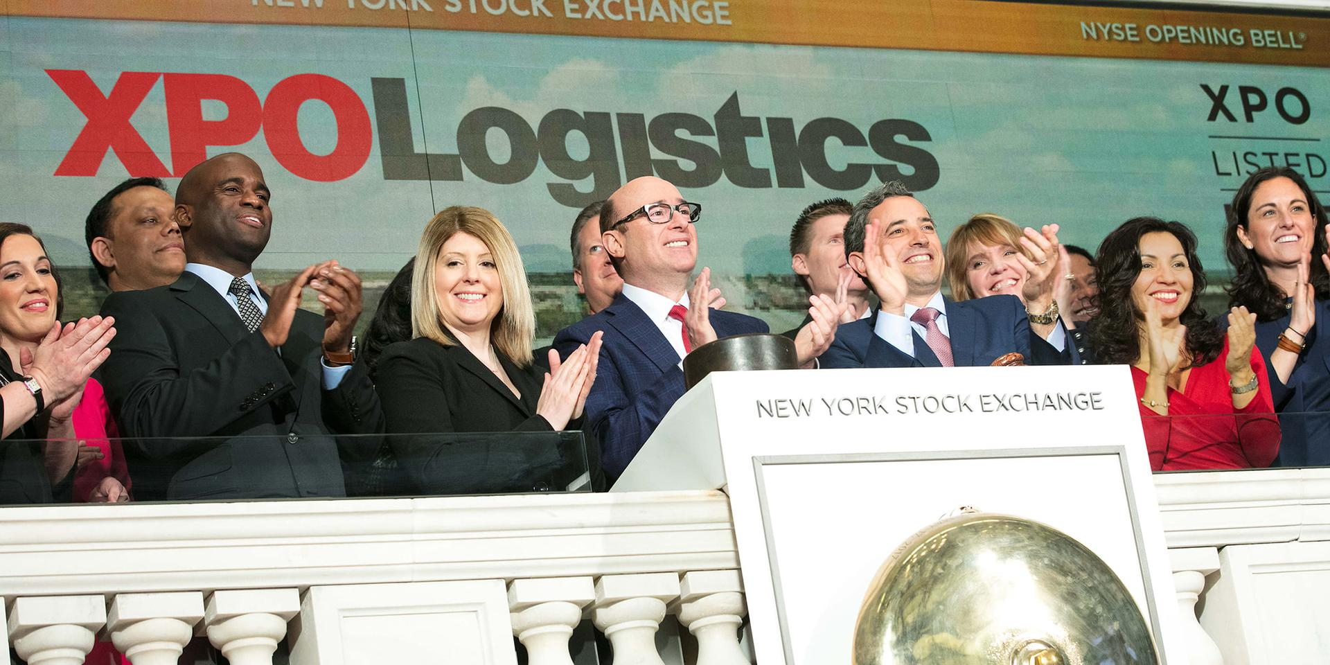 XPO leadership ringing the opening bell at the New York Stock Exchange