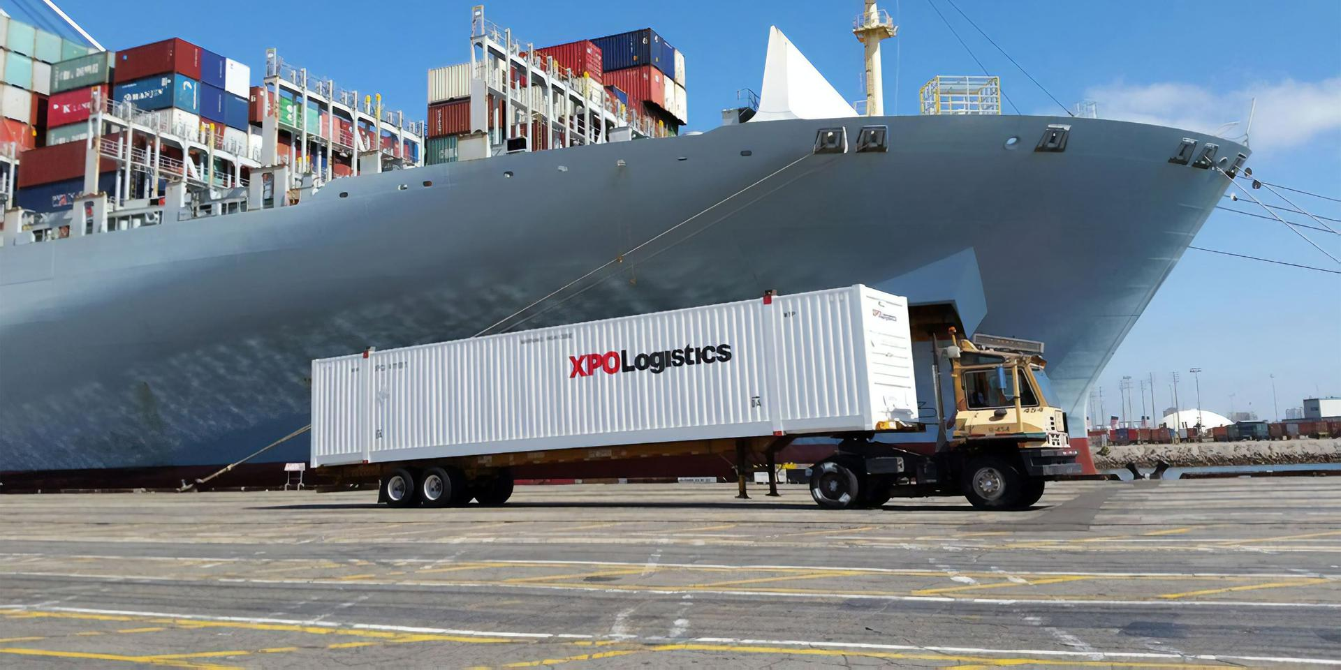 XPO container on dock