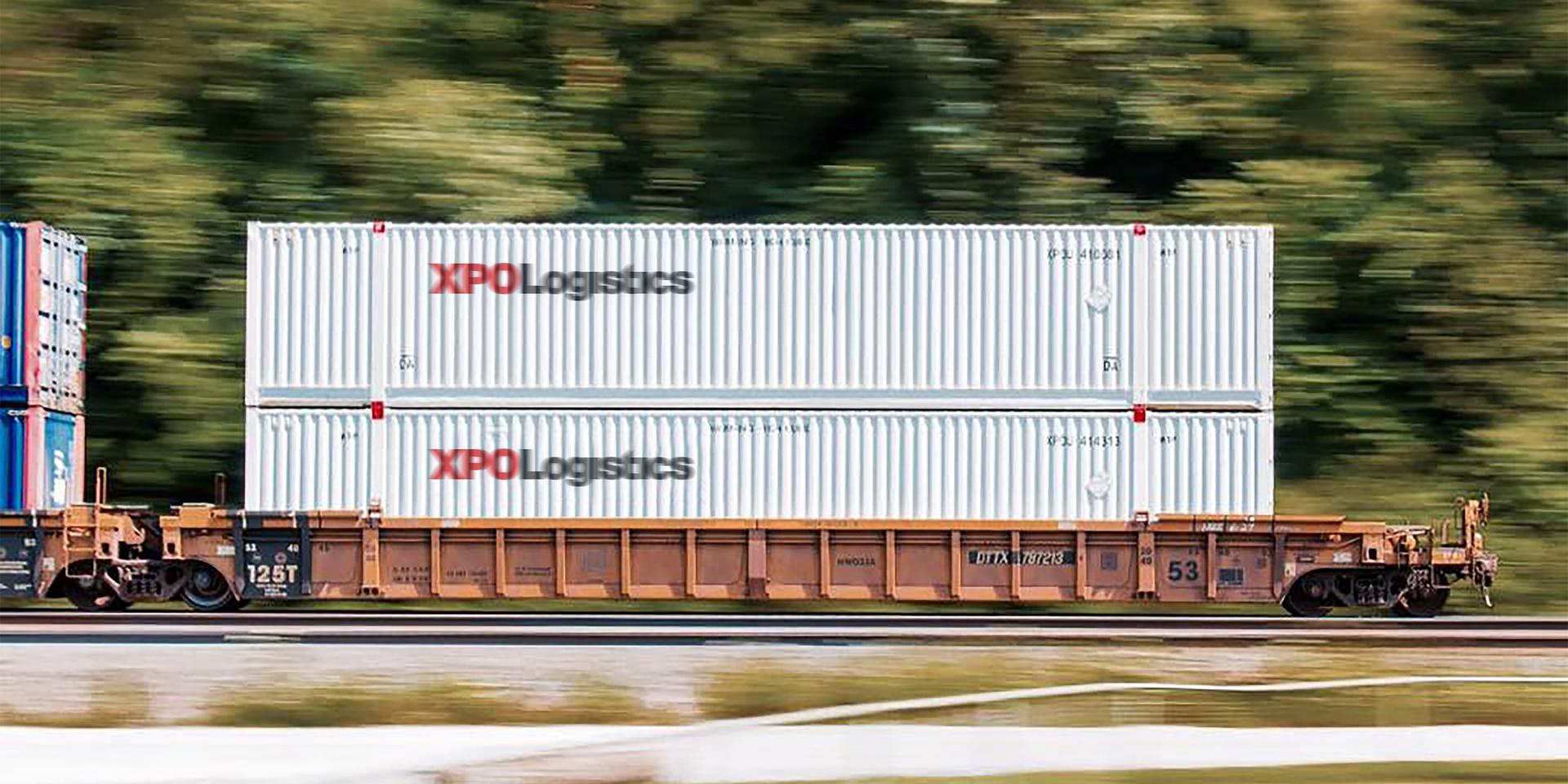 XPO containers moving on rail