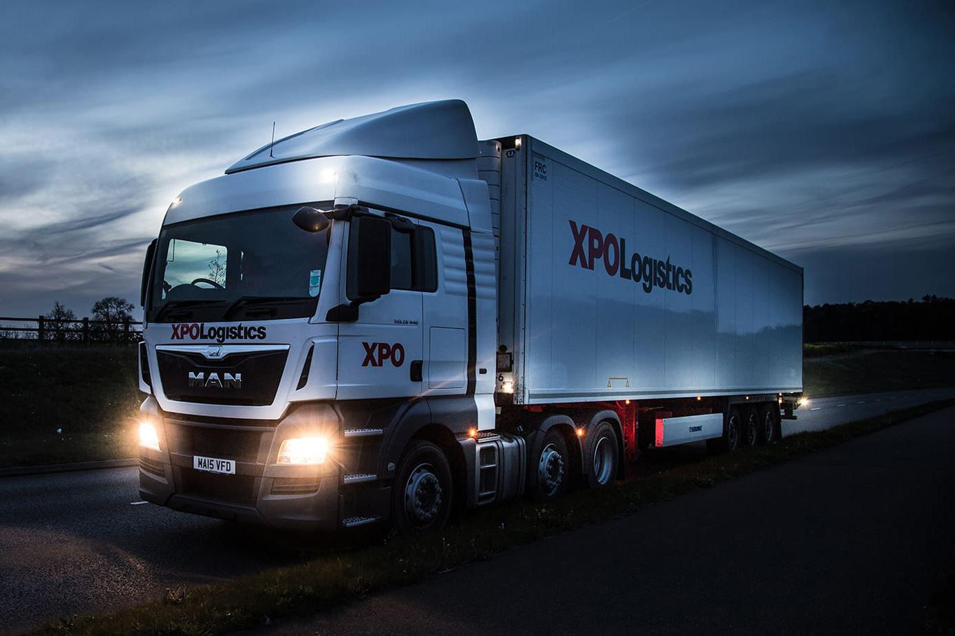 XPO trucks leaving terminal