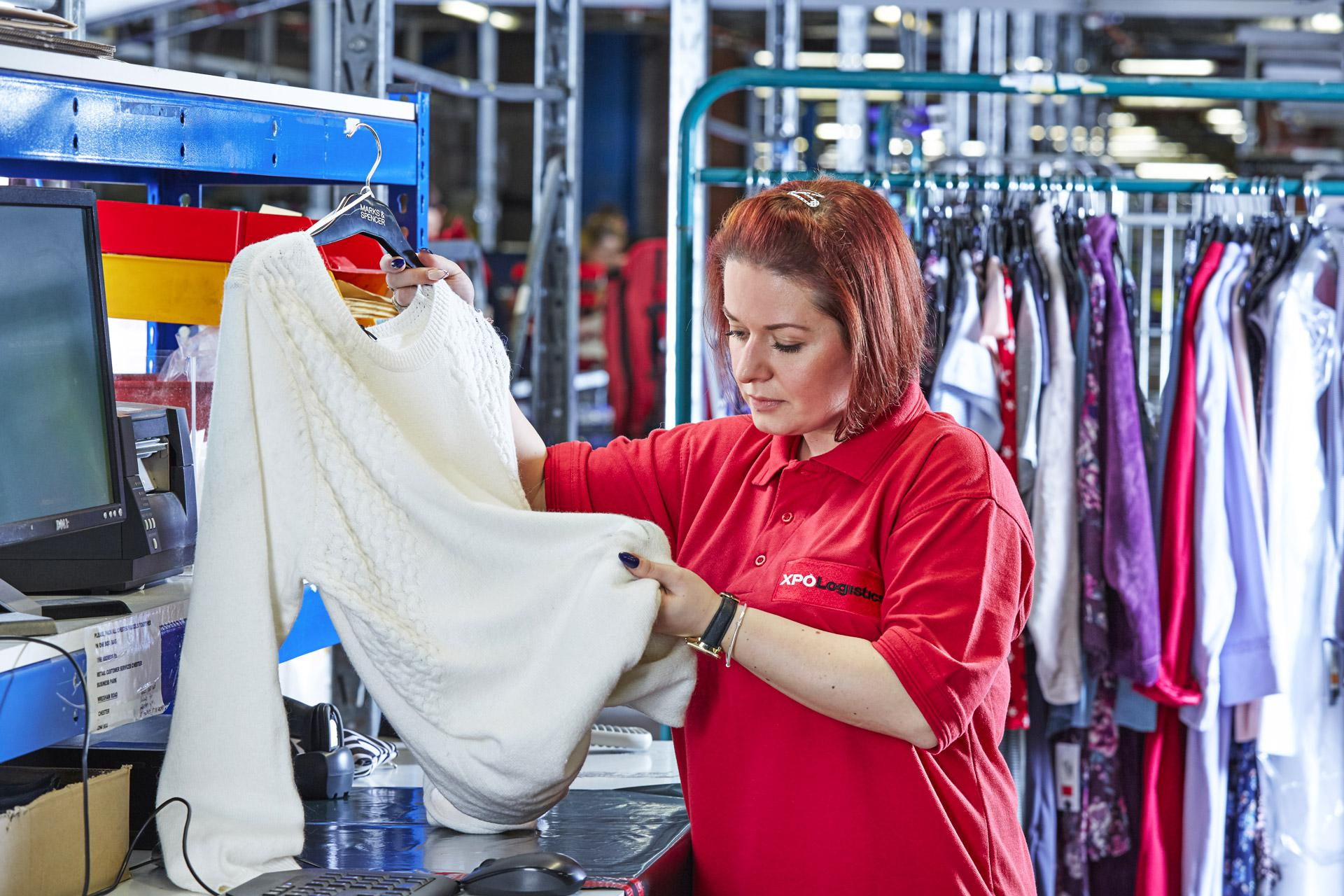 XPO employee considers quality of a returned garment