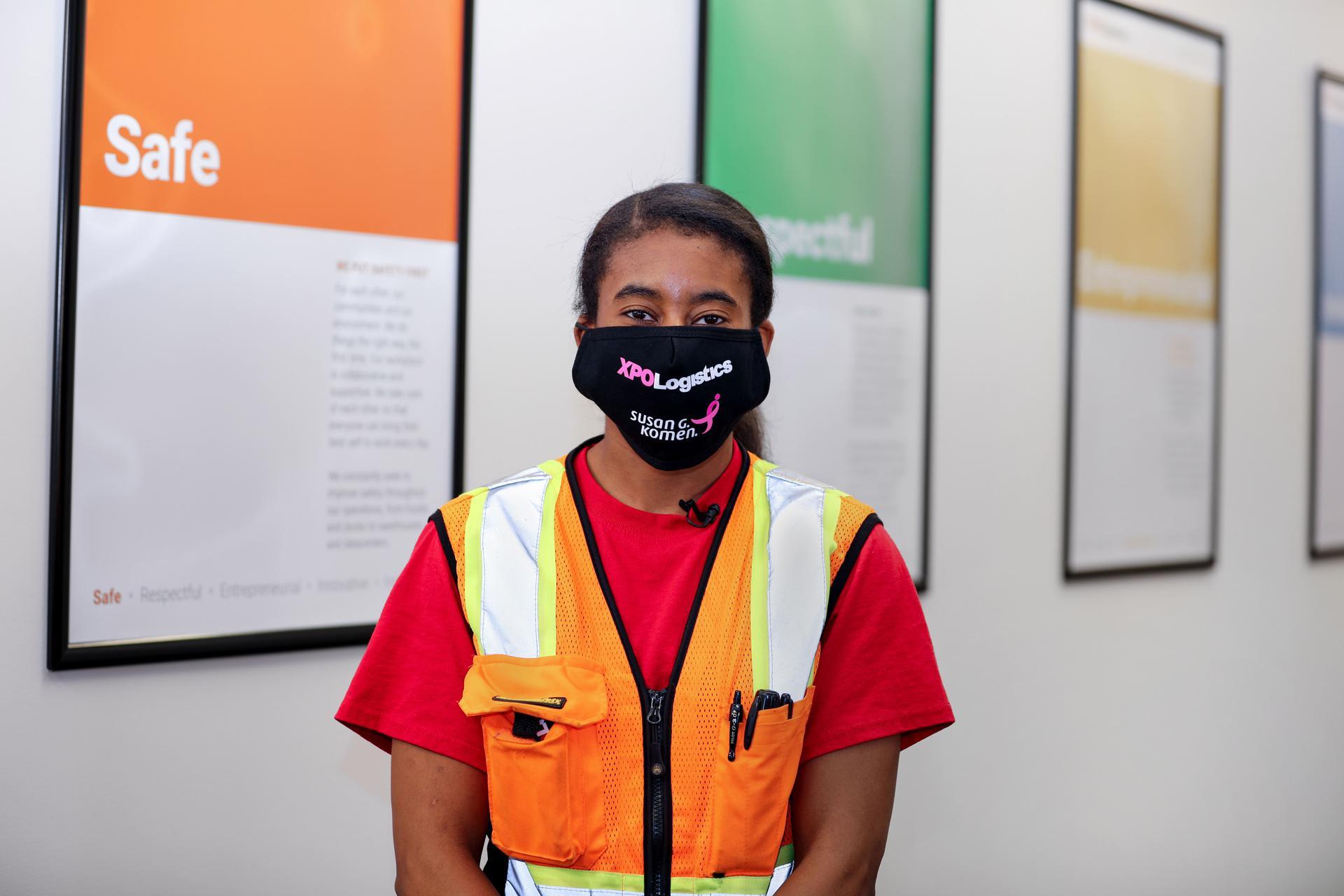 XPO employee in mask