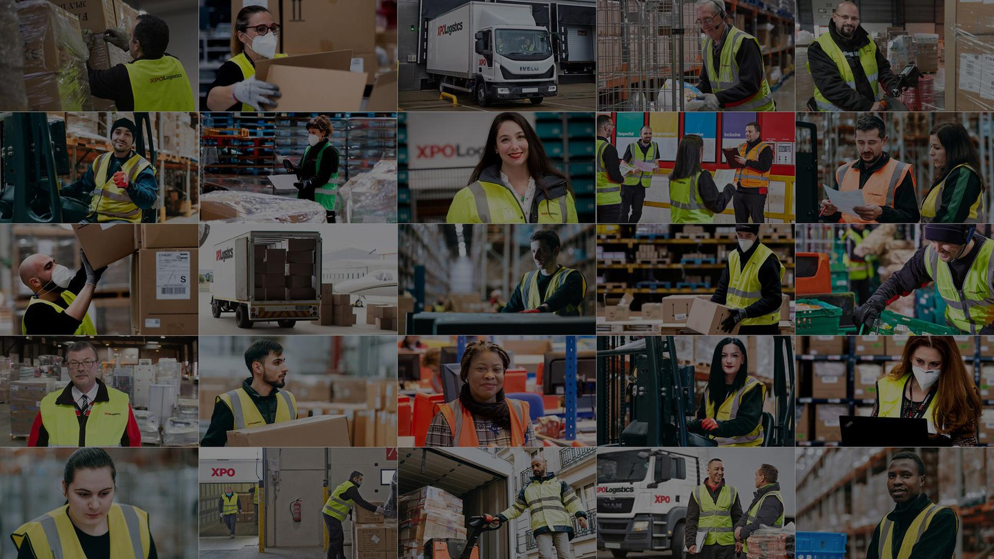 Pictures of XPO employees in a collage