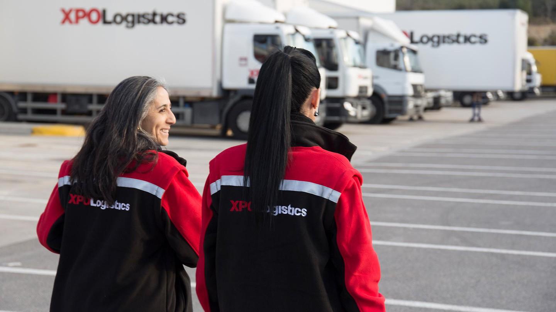 Women in an XPO transport depot