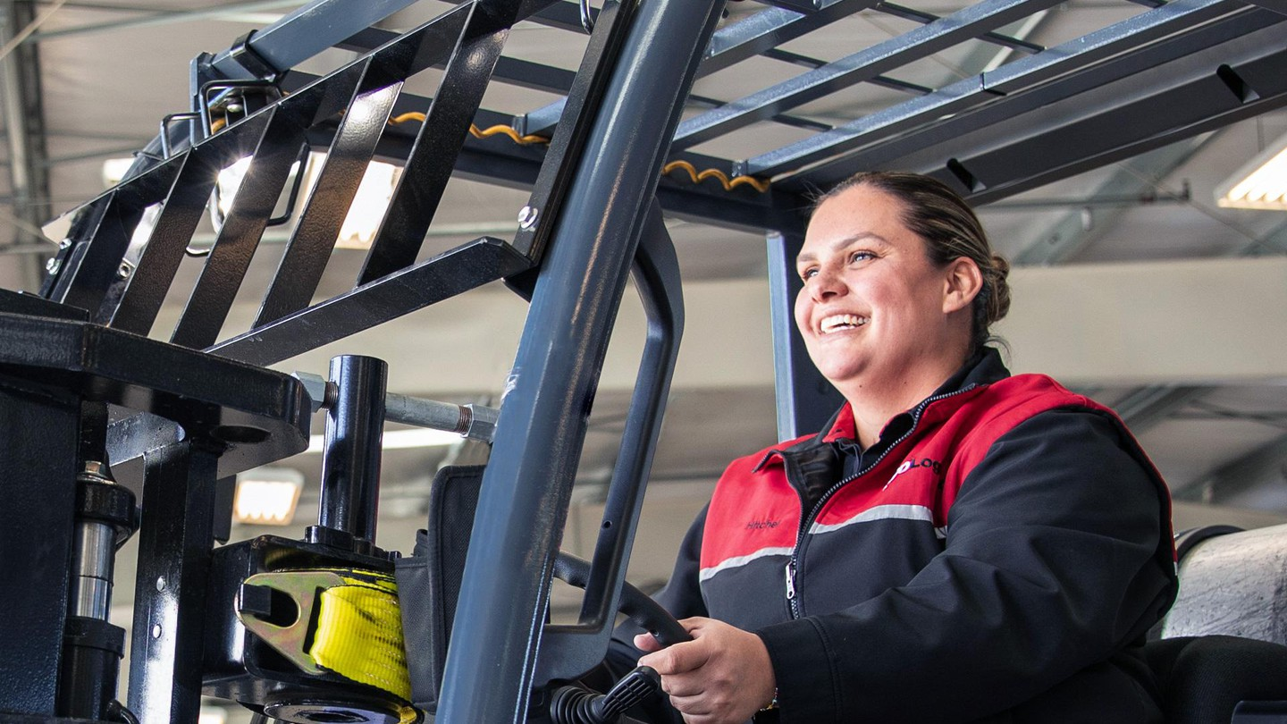 XPO employee in forklift