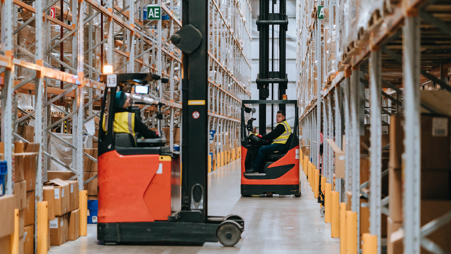 Warehouse operator on a forklift