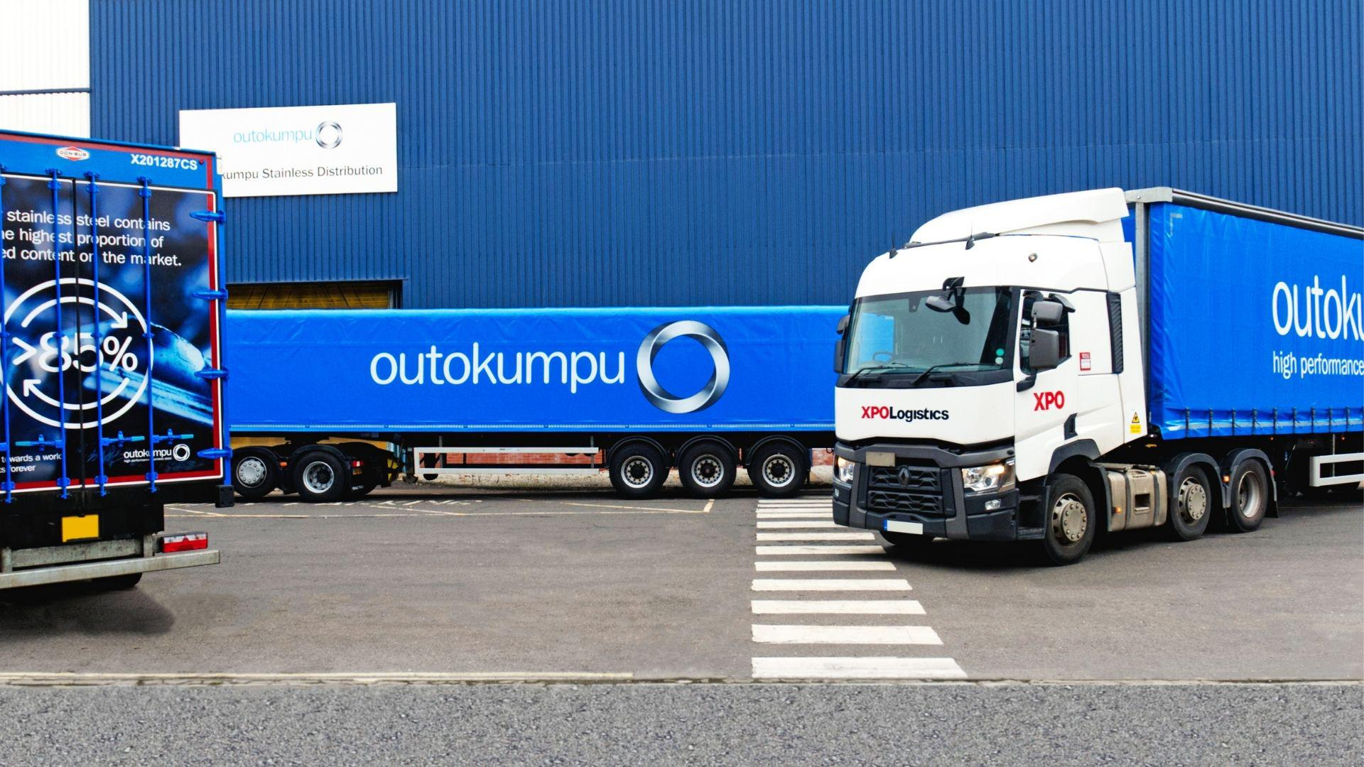 XPO and Outokumpu branded trucks