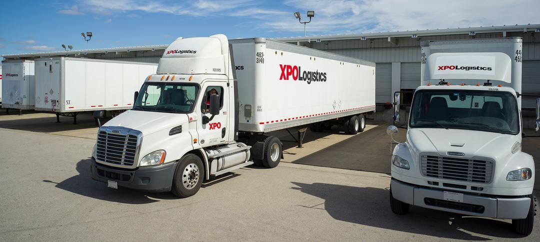 XPO trucks at facility