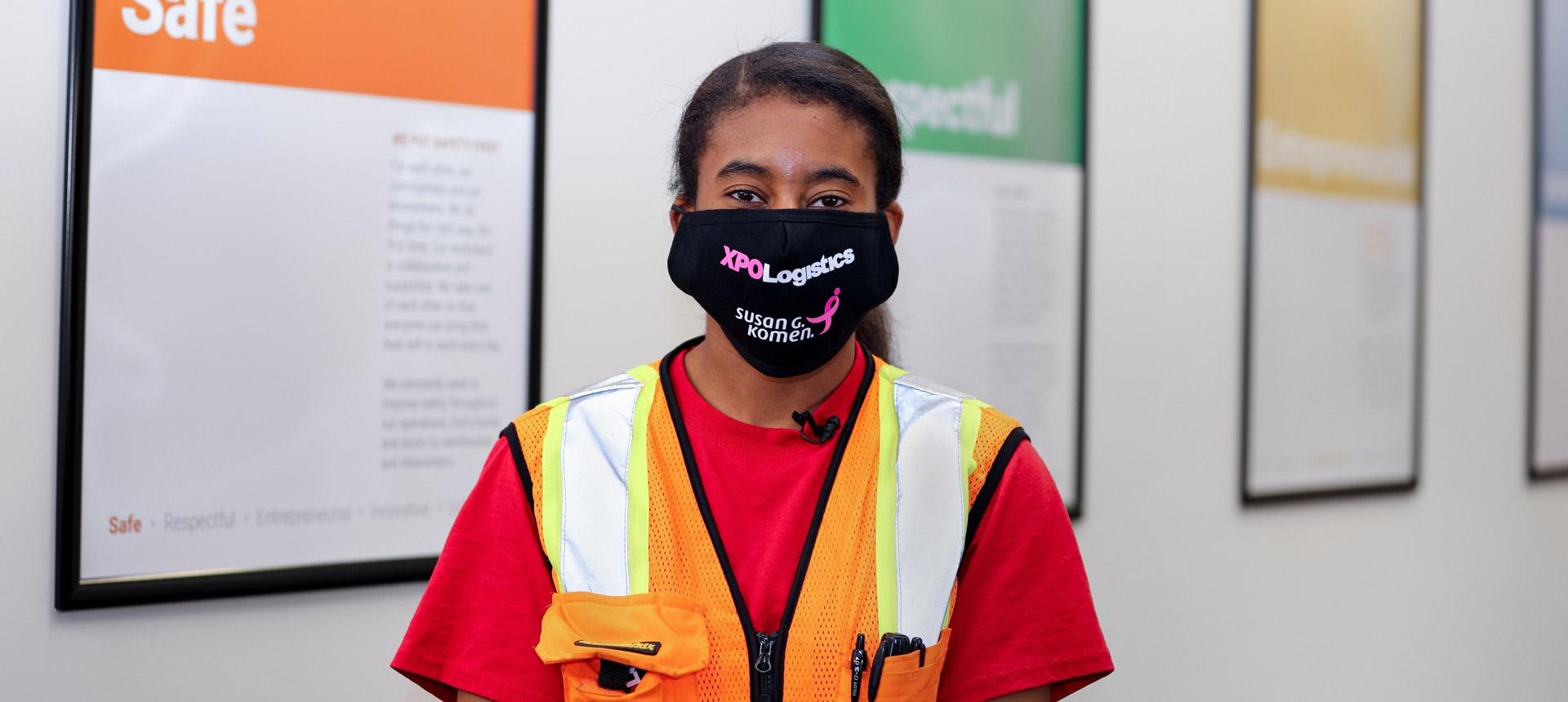 XPO employee in mask