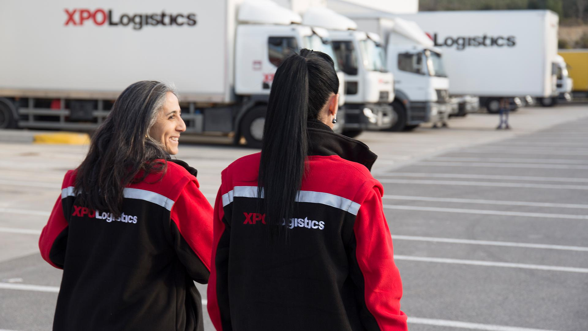 Women in an XPO transport depot