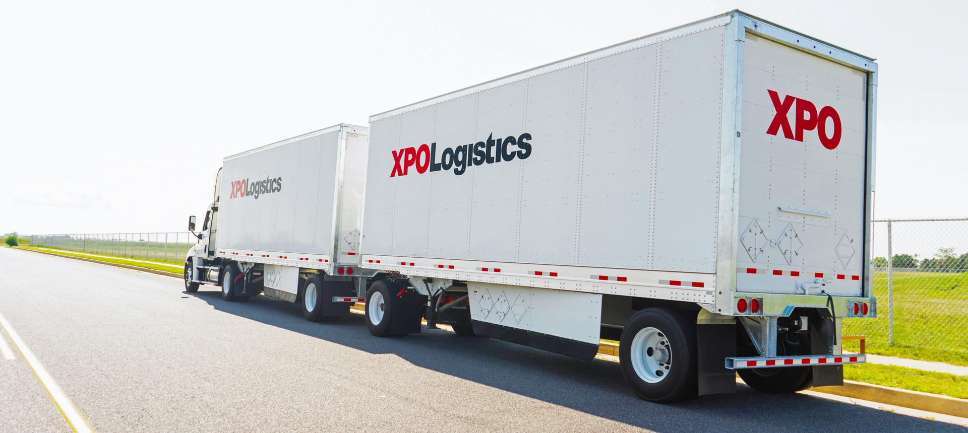 XPO LTL double-truck on road