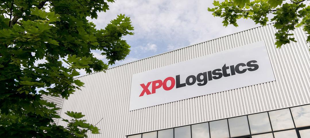 XPO warehouse and trees