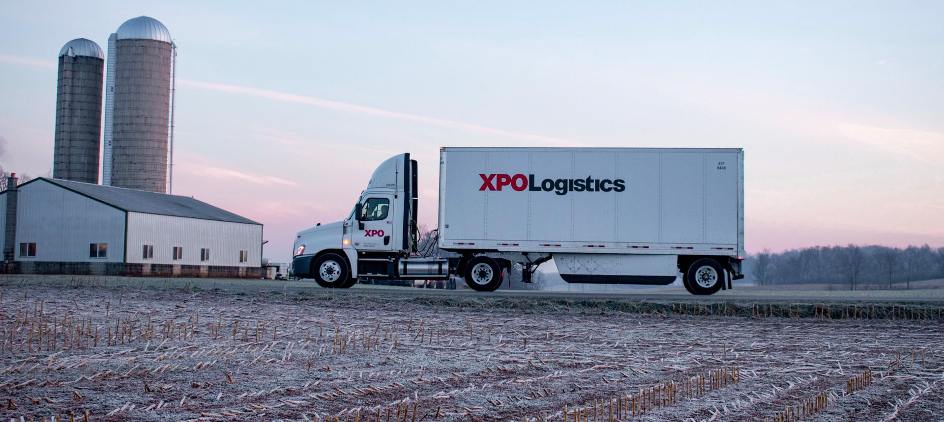 XPO truck on farm