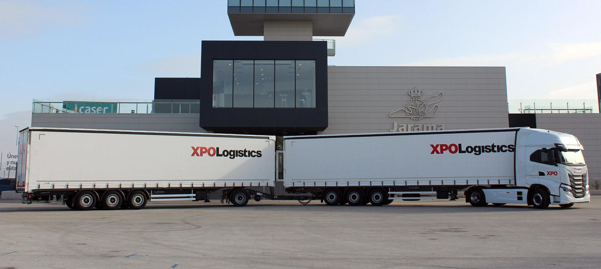 One of XPO's new duo-trailers in Spain, two full-sized trailers getting towed behind a single tractor to reduce emissions.