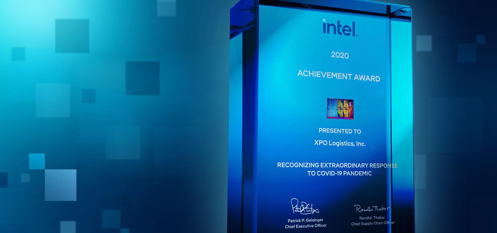Image of Intel award trophy