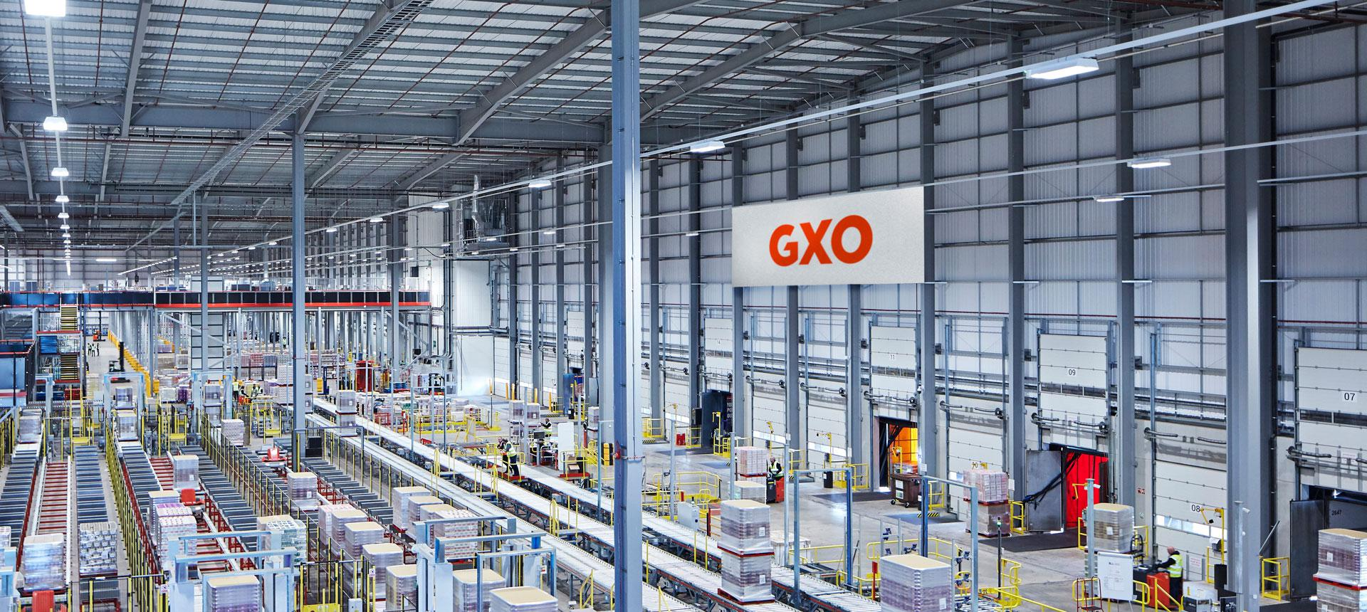 The inside of a GXO warehouse.