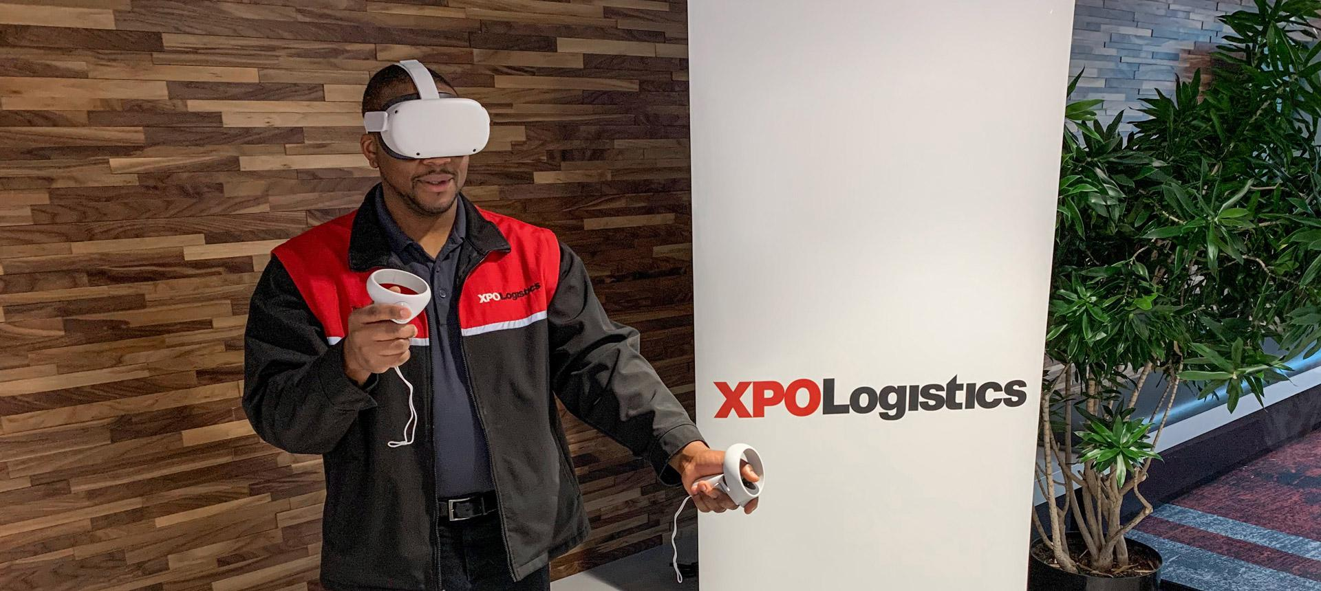 Employee using VR technology