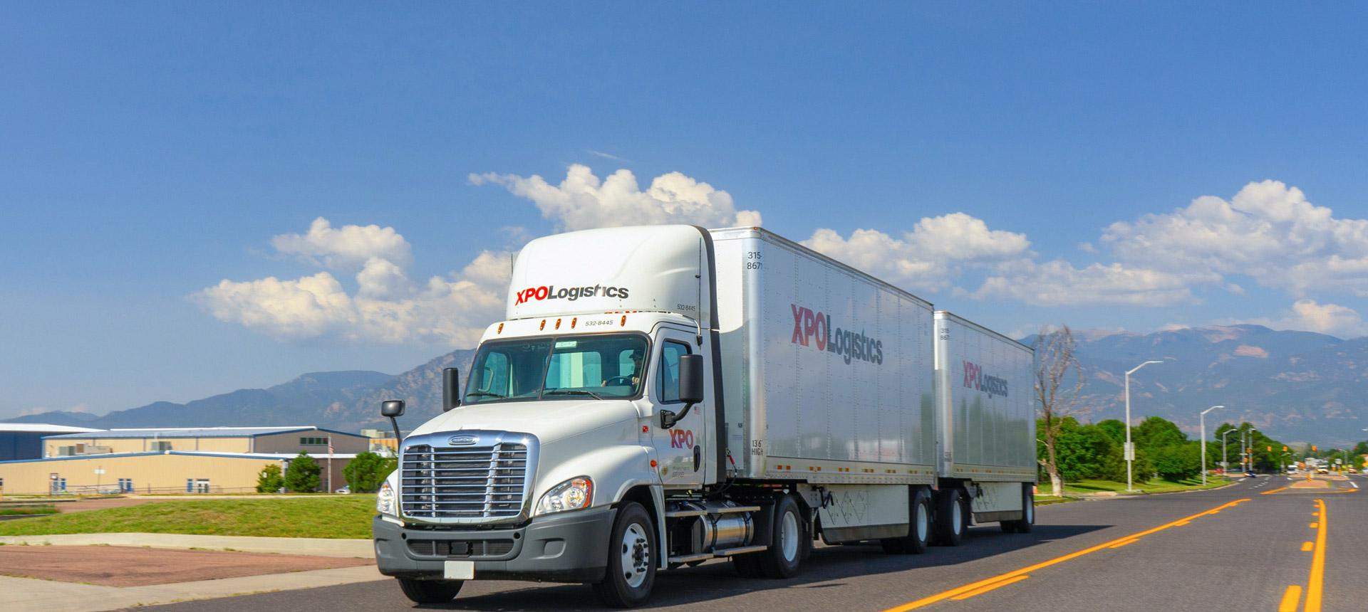 XPO's double truck on highway