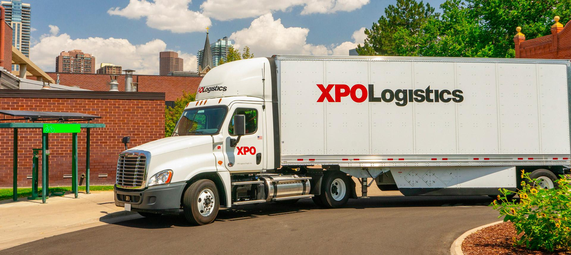 XPO truck in roundabout