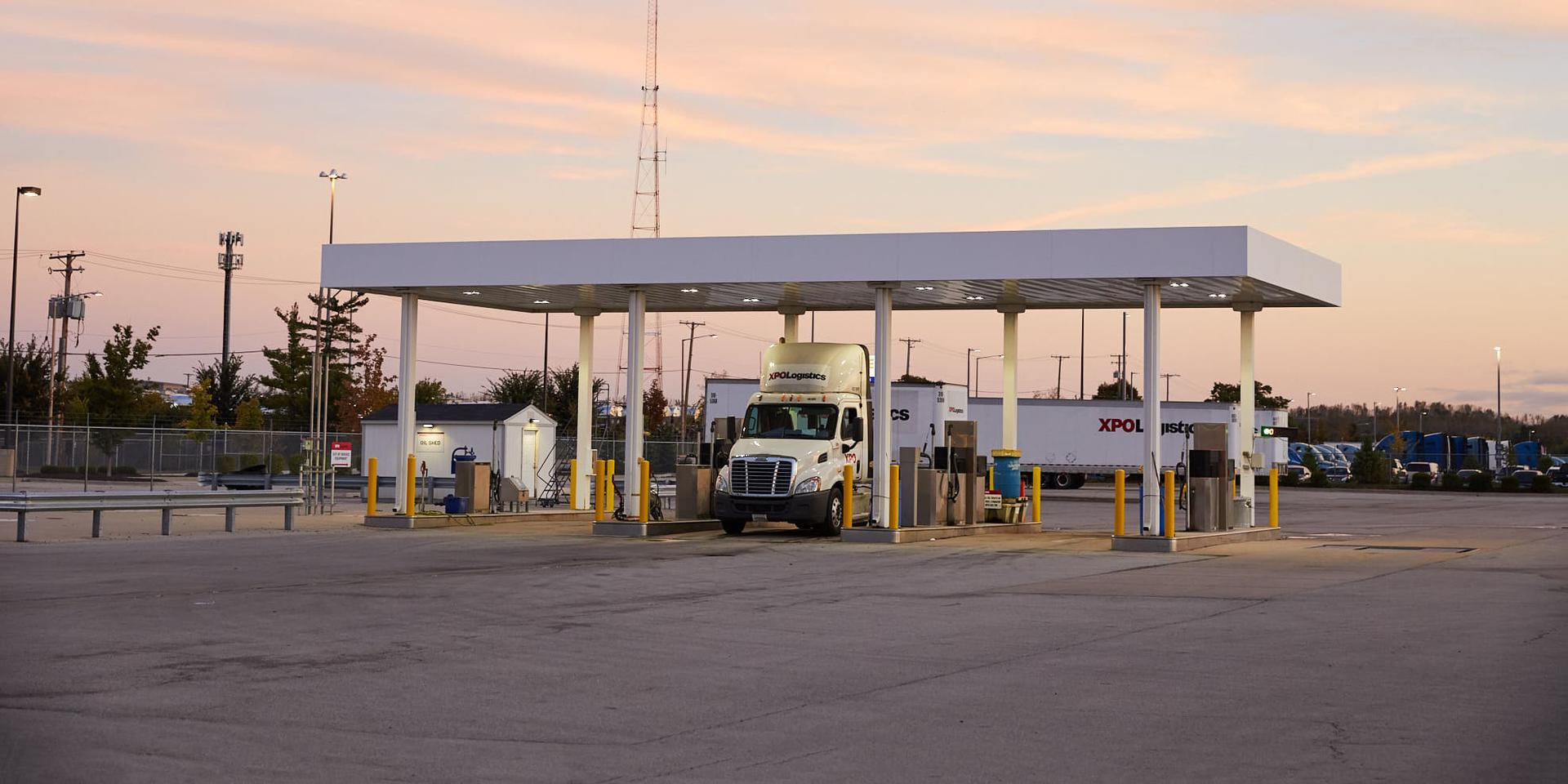 XPO LTL truck at fueling station