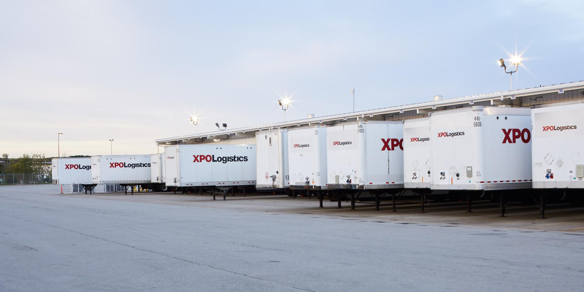 Row of XPO trailers